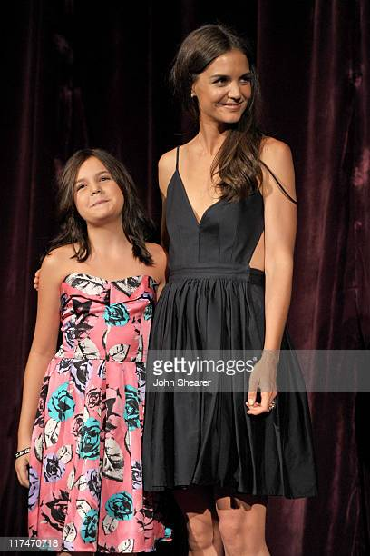 "Actresses Bailee Madison and Katie Holmes speak onstage at the ""Don't Be Afraid of The Dark"" Closing Night Gala screening introduction during the..."