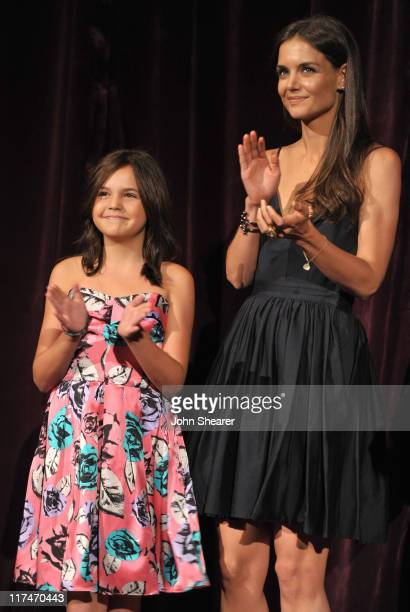 Actresses Bailee Madison and Katie Holmes speaks onstage at the Don't Be Afraid of The Dark Closing Night Gala screening introduction during the 2011...