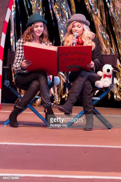 Actresses Bailee Madison and Olivia Holt attend the Knott's Merry Farm Holiday Reading and Tree Lighting at Knott's Berry Farm on December 7 2013 in...