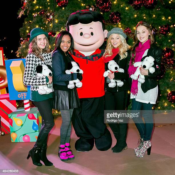 Actresses Bailee Madison China Anne McClain Olivia Holt and Kelli Berglund with character Lucy attend the Knott's Merry Farm Holiday Reading and Tree...