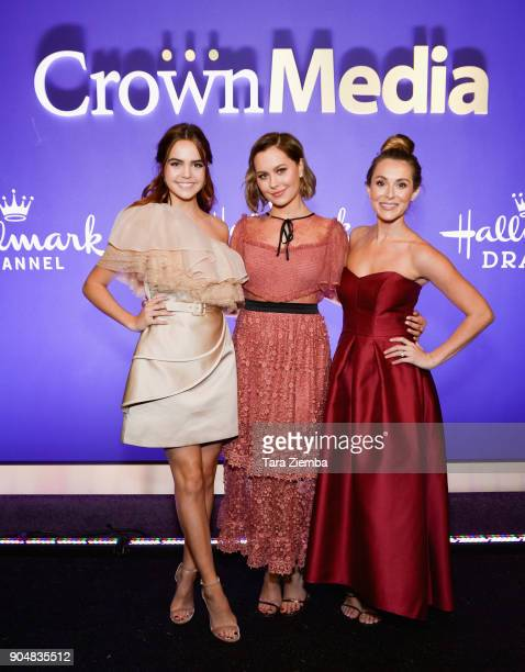 Actresses Bailee Madison Natasha Bure and Alexa PenaVega attend Hallmark Channel and Hallmark Movies and Mysteries Winter 2018 TCA Press Tour at...
