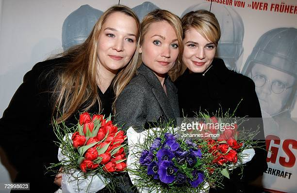 Actresses Barbara Bauer Lisa Maria Potthoff and Rike Schmid seen after the premiere of their film Schwere Jungs January 14 in Munich Germany