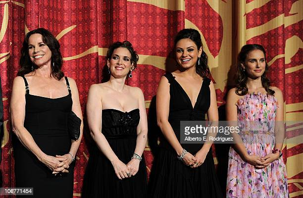 Actresses Barbara Hershey Winona Ryder Mila Kunis and Natalie Portman onstage at the Black Swan closing night gala during AFI FEST 2010 presented by...
