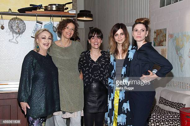 Actresses Barbara Schoene Katja Riemann author Sarah Kuttner actress Claudia Eisinger and director Laura Lackmann attend a photocall for...