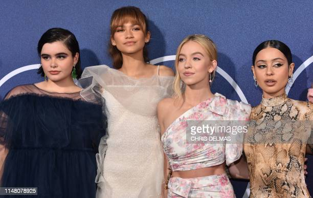 Actresses Barbie Ferreira Zendaya Sydney Sweeney and Alexa Demie attend the Los Angeles premiere of the new HBO series Euphoria at the Cinerama Dome...