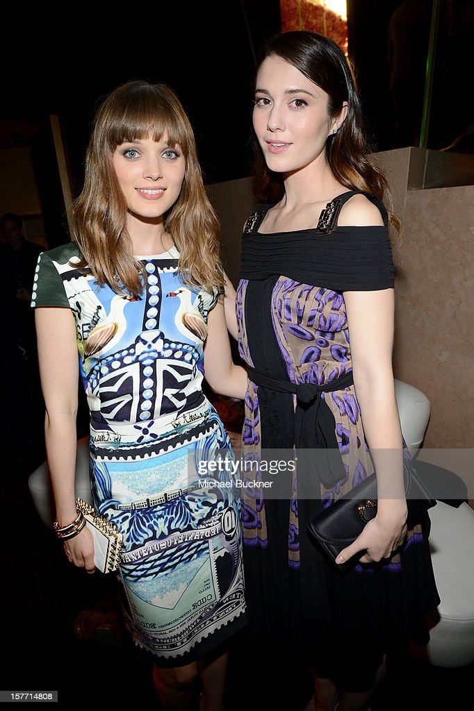 Actresses Bella Heathcote (L) and Mary Elizabeth Winstead attend the Rodeo Drive Walk Of Style honoring BVLGARI and Mr. Nicola Bulgari held at Bulgari on December 5, 2012 in Beverly Hills, California.
