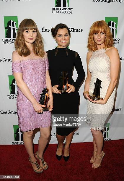 Actresses Bella Heathcote, Samantha Barks and Kelly Reilly pose with their Hollywood Spotlight Awards during the 16th Annual Hollywood Film Awards...