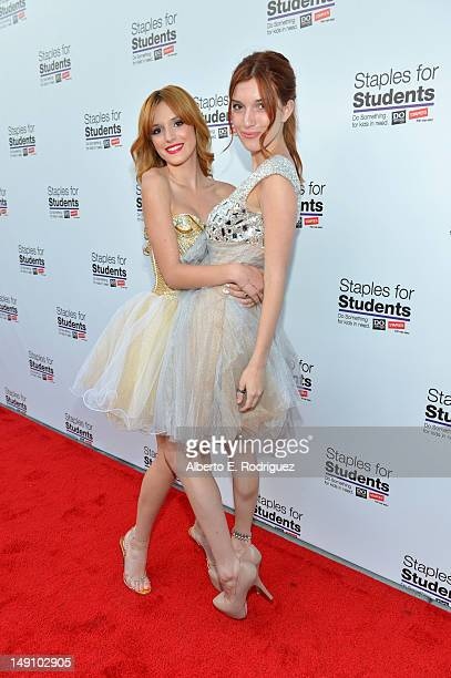 Actresses Bella Thorne and Dani Thorne attend the Staples DoSomethingorg Bella Thorne Party for the 5th Staples for Students School Supply Drive...