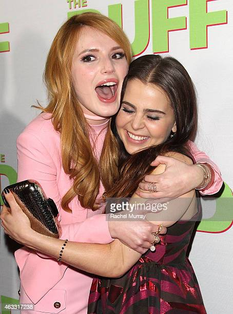 Actresses Bella Thorne and Mae Whitman attend a special Los Angeles fan screening of THE DUFF on February 12 2015 in Los Angeles California