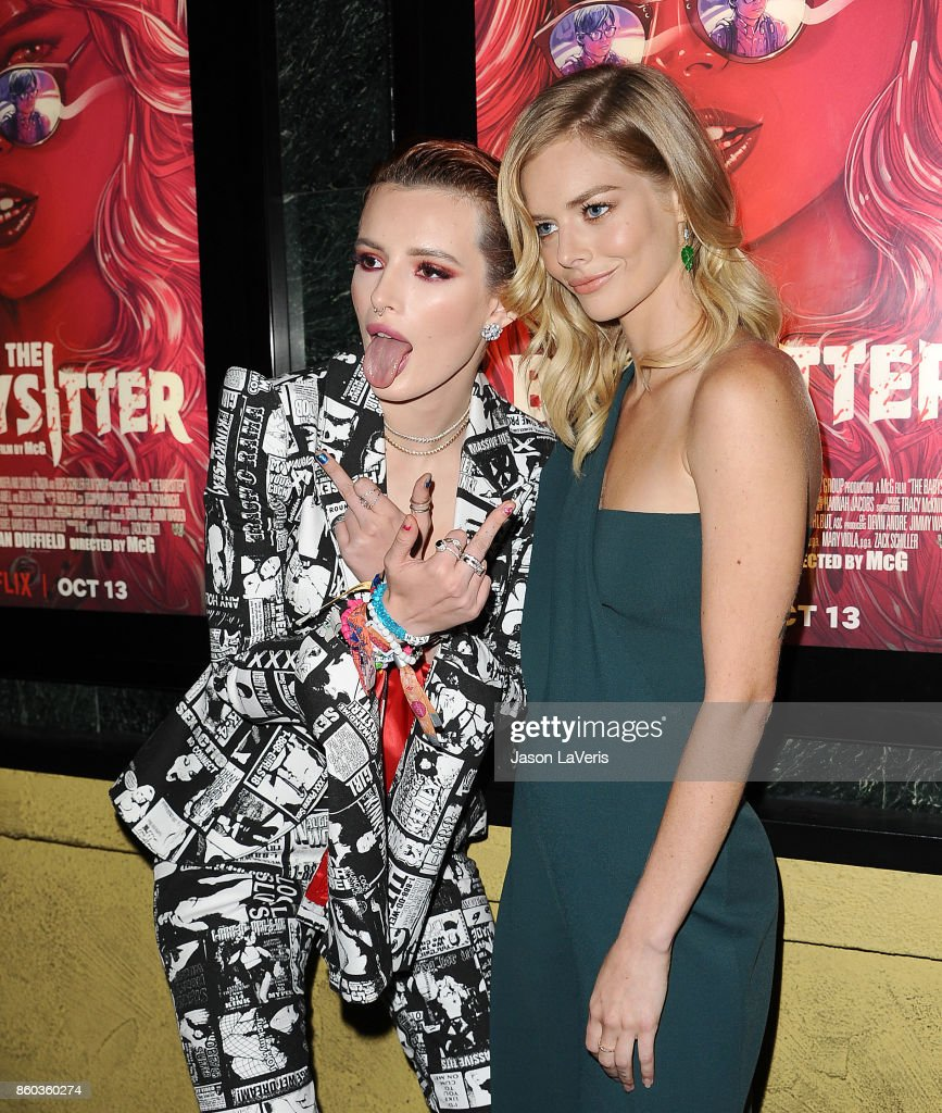 Actresses Bella Thorne and Samara Weaving attend the premiere of 'The Babysitter' at the Vista Theatre on October 11, 2017 in Los Angeles, California.