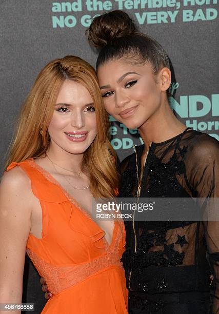 Actresses Bella Thorne and Zendaya attend the premiere of Disney's Alexander and The Terrible Horrible No Good Very Bad Day at El Capitan Theatre...