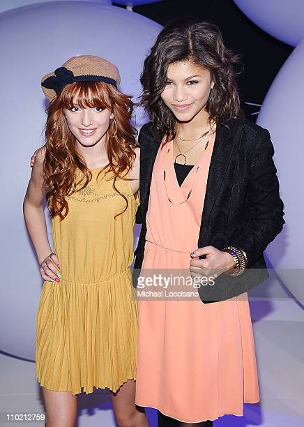 Actresses Bella Thorne and Zendaya Coleman attend the 2011 Disney Kids Family upfront at Gotham Hall on March 16 2011 in New York City