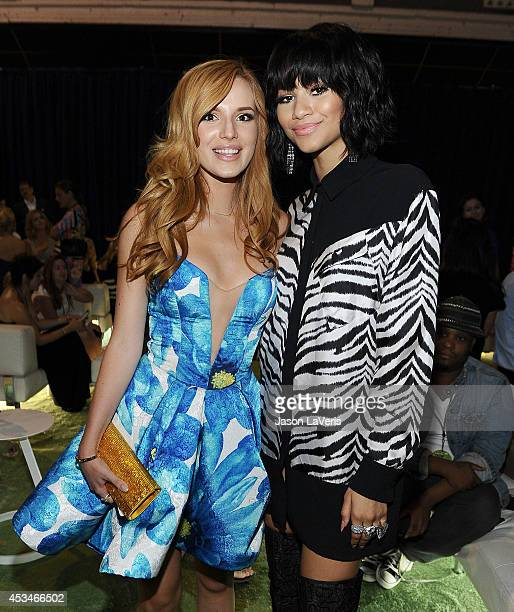Actresses Bella Thorne and Zendaya Coleman pose in the green room at the 2014 Teen Choice Awards at The Shrine Auditorium on August 10 2014 in Los...
