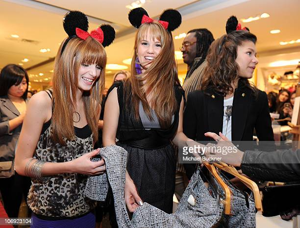Actresses Bella Thorne Debby Ryan and Zendaya Coleman attend the Minnie Muse Collection Launch at the Forever 21 in Hollywood and Highland on...