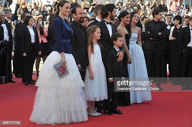 Actresses Berenice Bejo, Jeanne Jestin, director Asghar Farhadi, actress Pauline Burlet, actors Elyes Aguis, Ali Mosaffa, Tahar Rahim and actress...