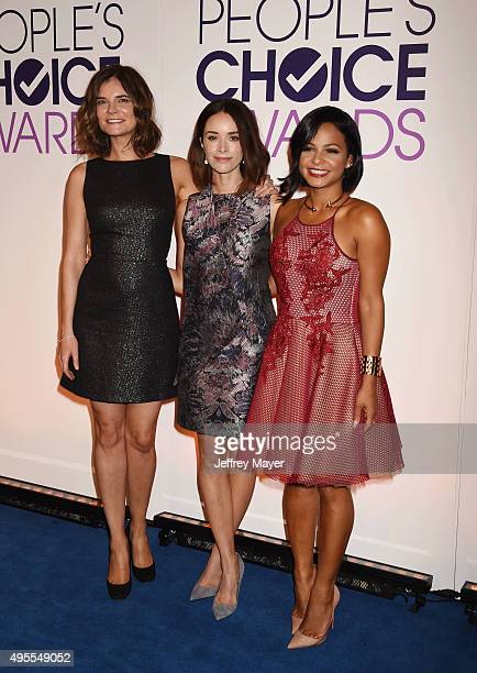 Actresses Betsy Brandt Abigail Spencer and Christina Milian attend the People's Choice Awards 2016 nominations press conference at The Paley Center...