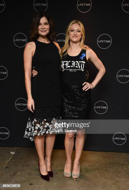Actresses Betsy Brandt and Marin Ireland attend Lifetime and NeueHouse Women's Forum Present FLINT with cast and real life residents at NeueHouse...