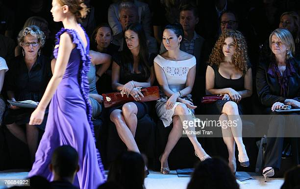 Actresses Bette Midler Demi Moore Lucy Liu Bernadette Peters and TV personality Martha Stewart front row at Zac Posen Spring 2008 Collection during...