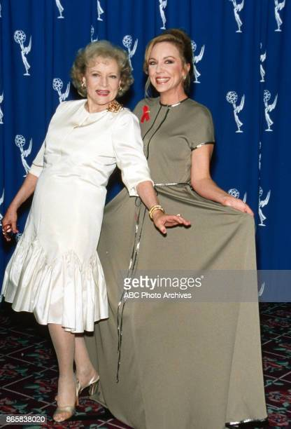 Actresses Betty White and Brett Butler attend the 48th Annual Primetime Emmy Awards on September 8 1996 at the Pasadena Civic Auditorium in Pasadena...