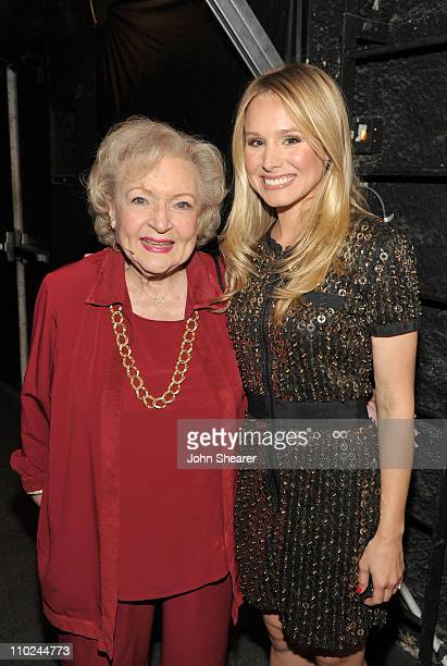 Actresses Betty White and Kristen Bell attend the 19th annual A Night At Sardi's fundraiser and awards dinner benefitting the Alzheimer's Association...