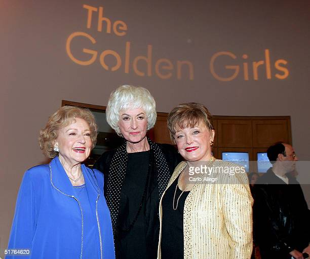 Actresses Betty White Bea Arthur and Rue McClanahan arrive for the DVD release party for The Golden Girls the first season November 18 2004 in Los...