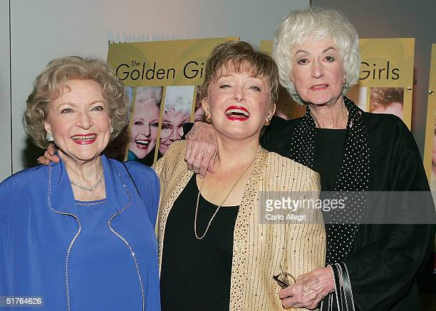 Actresses Betty White Rue McClanahan and Bea Arthur arrive for the DVD release party for The Golden Girls the first season November 18 2004 in Los...
