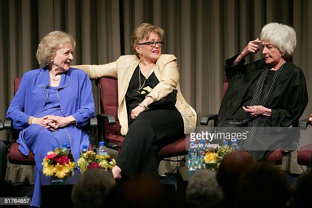 Actresses Betty White Rue McClanahan and Bea Arthur talk during the QA for the DVD release party for The Golden Girls the first season at Museum of...