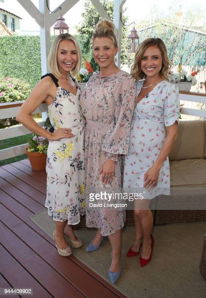 Actresses Beverley Mitchell Jodie Sweetin and Christine Lakin visit Hallmark's Home Family at Universal Studios Hollywood on April 10 2018 in...