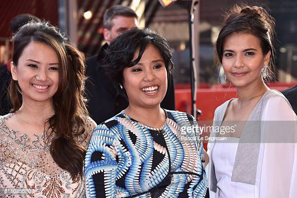 Actresses Bianca Balbuena Hazel Orencio and Alessandra De Rossi attend the 'A Lullaby to the Sorrowful Mystery' premiere during the 66th Berlinale...