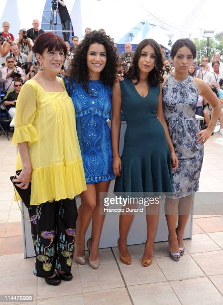 Actresses Biyouna Sabrina Ouazani Leila Bekhti Hafsia Herzi and Hiam Abbass attend the La Source Des Femmes Photocall at Palais des Festivals during...