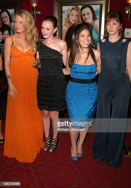 Actresses Blake Lively Alexis Bledel America Ferrera and Amber Tamblyn attend the premiere of The Sisterhood of the Traveling Pants 2 at the Ziegfeld...