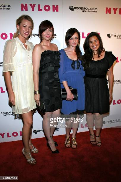 Actresses Blake Lively Amber Tamblyn Alexis Bledel and America Ferera attend the Nylon Magazine MySpace International Music Issue Concert at Irving...