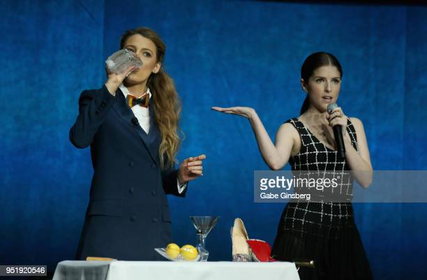 Actresses Blake Lively and Anna Kendrick perform a skit during CinemaCon 2018 Lionsgate Invites You to An Exclusive Presentation Highlighting Its...