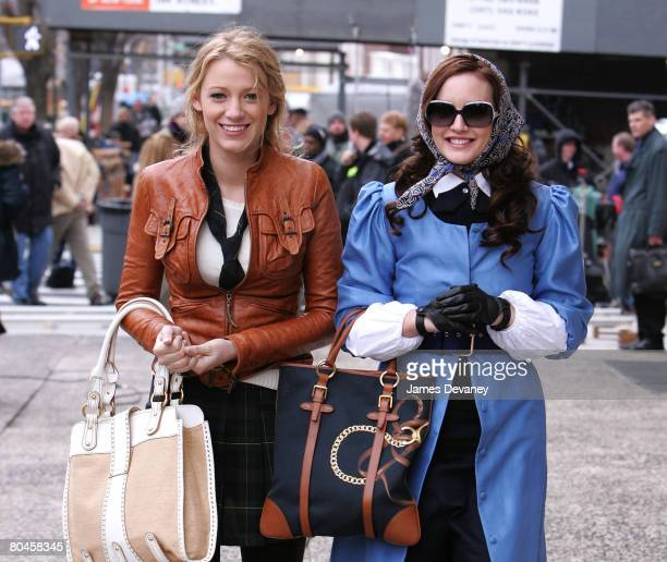 Actresses Blake Lively and Leighton Meester on location for 'Gossip Girl' on March 14 2008 in New York City