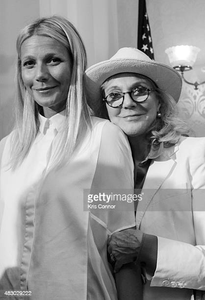 Actresses Blythe Danner and her daughter Gwyneth Paltrow speak during a news conference to discuss opposition to HR 1599 on August 5 2015 in...