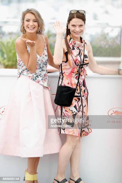 Actresses Borisleva Stratieva and Irini Jambonas attends the 'Posoki' photocall during the 70th annual Cannes Film Festival at Palais des Festivals...