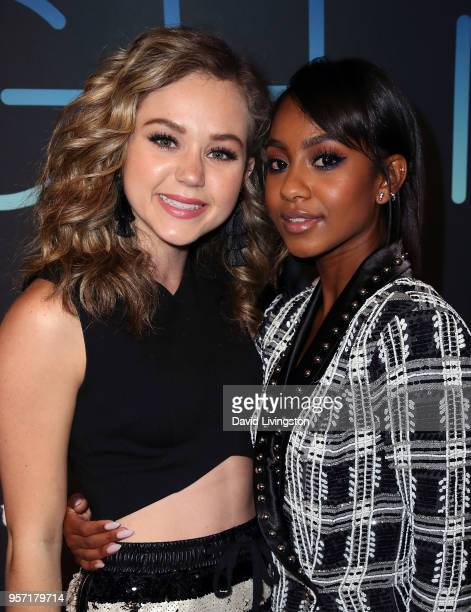 Actresses Brec Bassinger and Tetona Jackson attend the premiere of AwesomenessTV's new show All Night at Awesomeness HQ on May 10 2018 in Los Angeles...