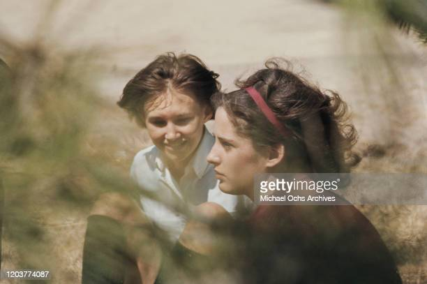 Actresses Brenda Currin and Mary Linda Rapelye in the small farming community of Holcomb Kansas during the filming of Truman Capote's nonfiction...