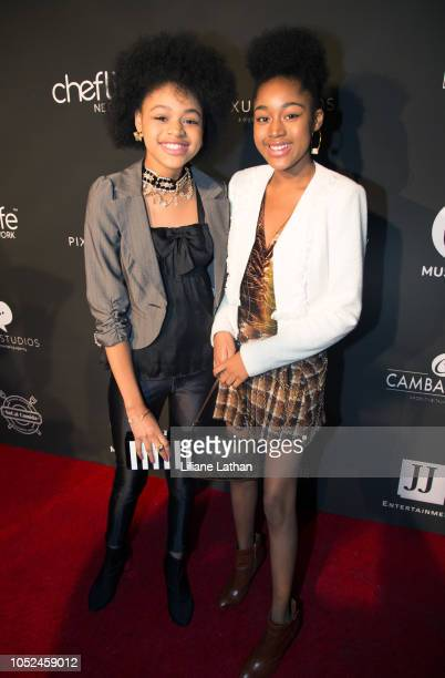 Actresses Briana and Jenasha Roy attend the Official MUSICA$H Launch Party at Avalon on October 17 2018 in Hollywood California