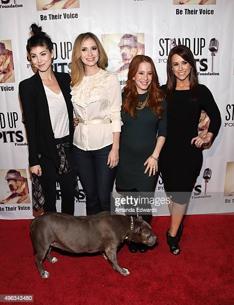 Actresses Briana Cuoco Ashley Jones Amy Davidson and Lacey Chabert arrive at the Stand Up For Pits Comedy Benefit at The Improv on November 8 2015 in...