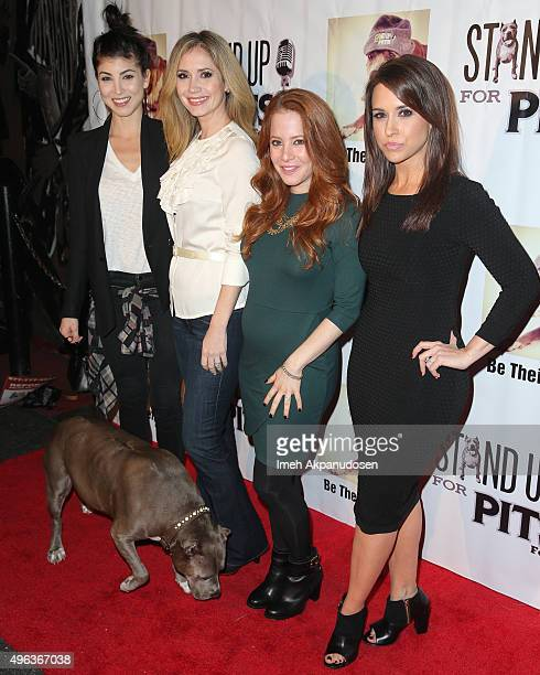 Actresses Briana Cuoco Ashley Jones Amy Davidson and Lacey Chabert attend the Stand Up For Pits Comedy Benefit at The Improv on November 8 2015 in...
