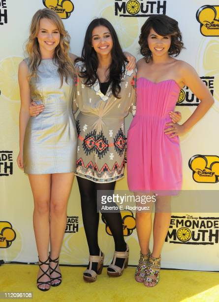 Actresses Bridgit Mendler Naomi Scott and Hayley Kiyoko arrive to the premiere of Disney Channel's 'Lemonade Mouth' at Stevenson Middle School on...
