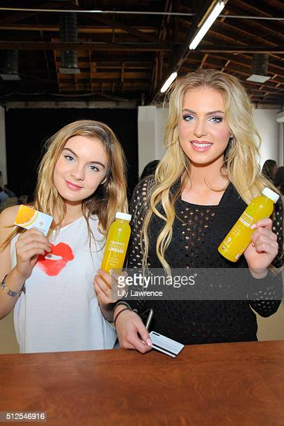 Actresses Brighton Sharbino and Saxon Sharbino attend Kari Feinstein's Style Lounge presented by LIFX on February 26 2016 in Los Angeles California