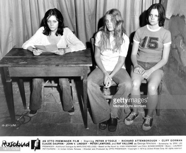Actresses Brigitte Ariel Debra Berger and Kim Cattrall on set of the United Artist movie 'Rosebud' in 1975