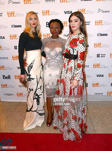 Actresses Brit Marling Muna Otaru and Hailee Steinfeld attend The Keeping Room premiere during the 2014 Toronto International Film Festival at The...