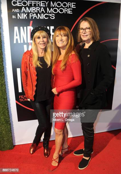 Actresses Britt Ekland Jane Seymour and Maud Adams arrive for the Premiere Of And The Winner Isn't at Laemmle Music Hall on December 8 2017 in...
