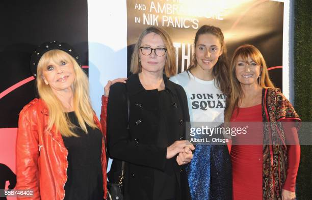 Actresses Britt Ekland Maud Adams producer Ambra Moore and Jane Seymour arrive for the Premiere Of And The Winner Isn't at Laemmle Music Hall on...