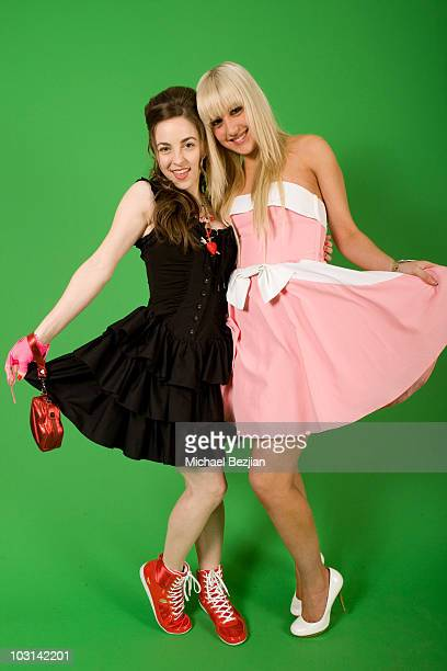 Actresses Brittany Curran and Monet Monico attend the Rockin Valentine Teen Celebrity Bash at a Private Residence on February 7 2009 in Beverly Hills...