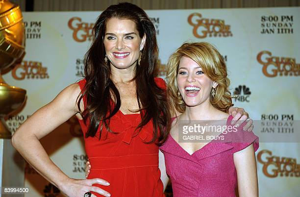 Actresses Brooke Shields and Elizabeth Banks pose after the 66th Annual Golden Globes nomination announcements held at the Beverly Hilton on December...