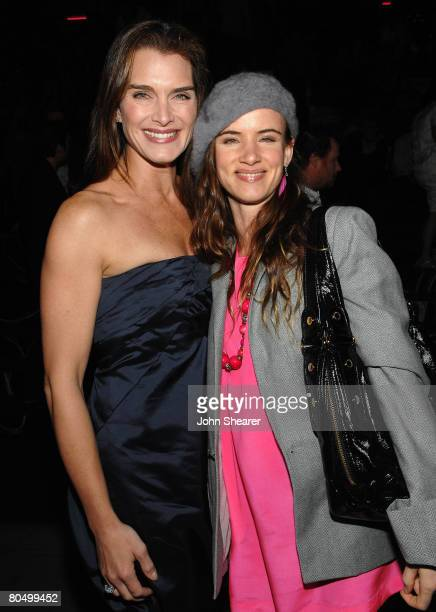 Actresses Brooke Shields wearing Miu Miu and Juliette Lewis attend the Los Angeles screening of Trembled Blossoms presented by Prada on March 19 2008...